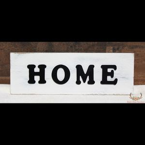 Raw Silk White 3D HOME Farmhouse Rustic Wood Sign